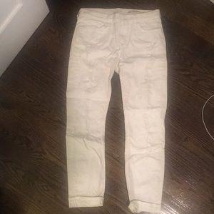 Zara white distressed boyfriend jeans
